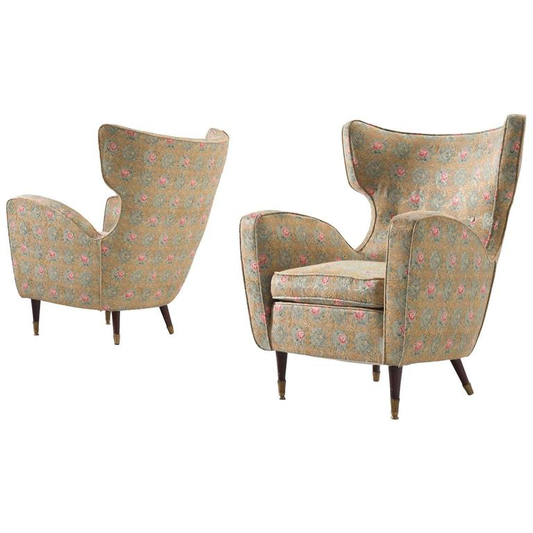 Pair of Italian Armchairs in Floral Upholstery