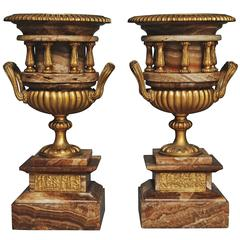 Pair of 19th Century Classical Style French Fine Quality Onyx Urns
