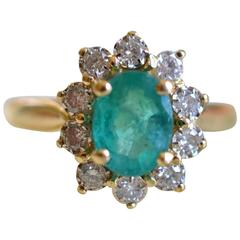 Vintage 18-Karat Yellow Gold Ring Emerald and Diamonds