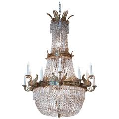 Large French Empire Style Gilt Bronze and Crystal Chandelier
