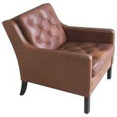 1970s, Danish Mid-Century Børge Mogensen Style Brown Leather Armchair