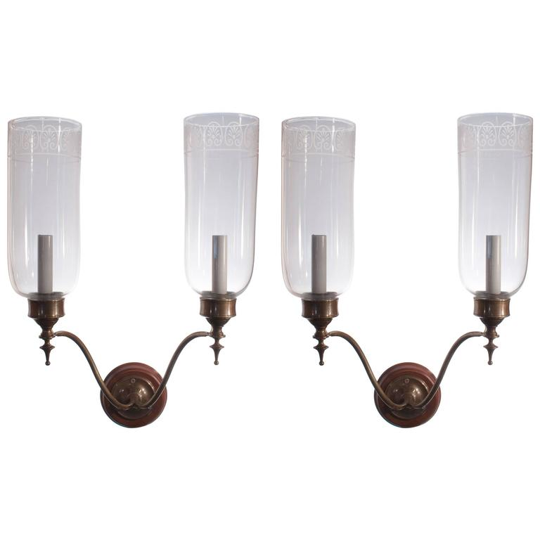Wall Sconces Glass Shades : Pair of Double Arm Glass Hurricane Shade Wall Sconces For Sale at 1stdibs