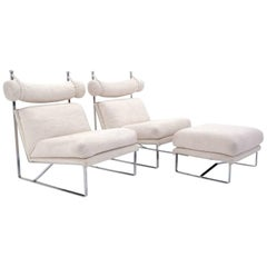 Unusual Suite of Luxurious Mid-Century Modern Club Chairs with Matching Ottoman