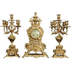 Large Rococo Clock Set by a D Mougin