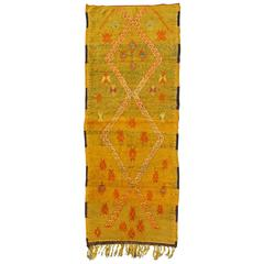 Colorful Moroccan Runner with Yellow Gold Background and Tribal Motifs