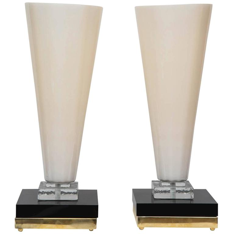 Pair of Table Lamps in Murano Glass For Sale