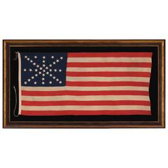 38 Stars on an Entirely Hand-Sewn Antiques American Flag