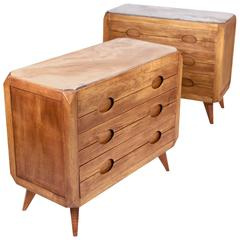 Pair of Commodes, Italian Work, Oak and Onyx, 1940s