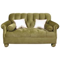Modern Button Tufted Loveseat in Apple Green Velour, Newly Upholstered