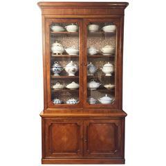 Mid-19th Century Walnut Bookcase, Italian Two-Part Cabinet