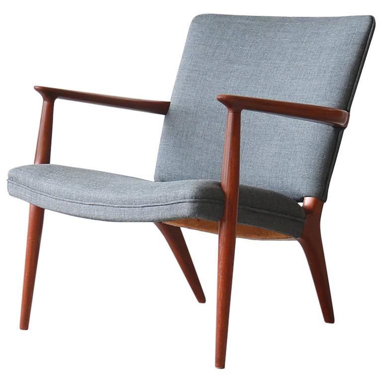 Jacob Kjr Rare Teak Easy Chair Danish Vintage Modern For Sale at