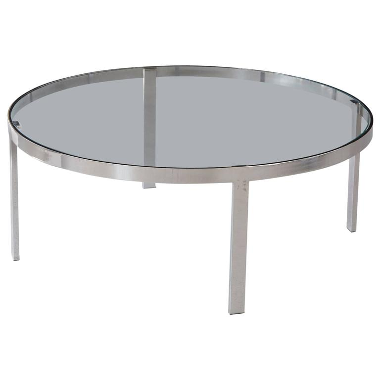 Milo baughman round chrome and glass coffee table for sale for Round glass coffee tables for sale
