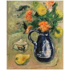 John Folinsbee, Floral Still Life with Pitcher, Signed