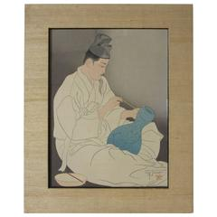 "Paul Jocoulet Signed Japanese Wood Block Print ""The Master Potter"""