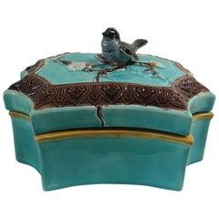 19th Victorian Majolica Bird Box Joseph Holdcroft