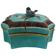 19th Victorian Majolica Bird Box Joseph Holdcroft