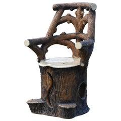 19th Century garden chair brown tree trunk faux bois Adirondack