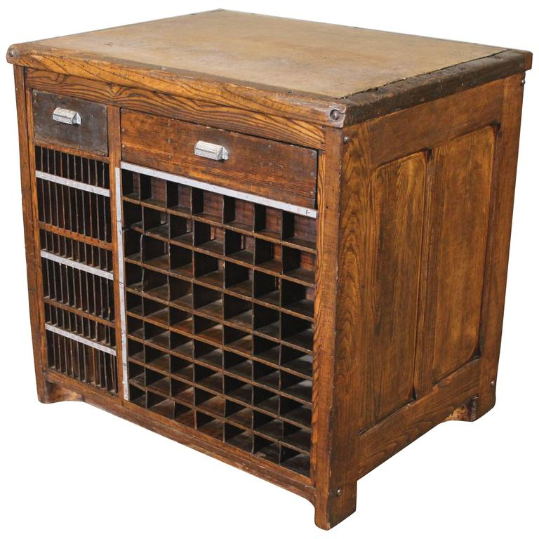 Industrial Marble Top Wooden Table Counter Storage Parts Cabinet Cubby  Holes For Sale