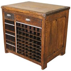 Industrial Marble-Top Wooden Table Counter Storage Parts Cabinet Cubby Holes