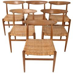 Hans Wegner, Set of Six Dining Chairs Model W2