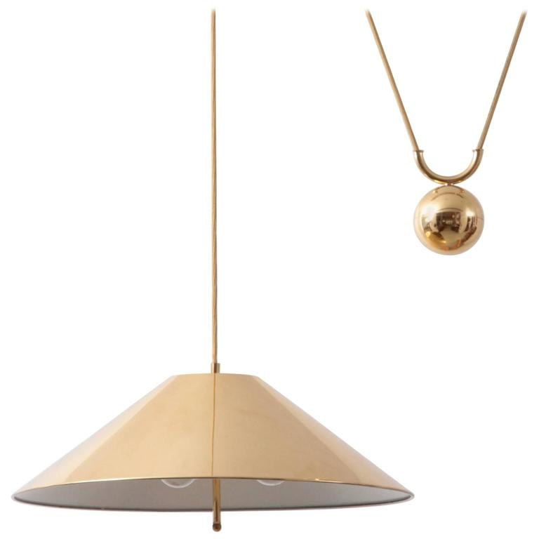 Chinese Hat Brass And Counter Weight Pendant Lamp, 1960s