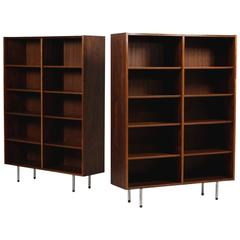 Large Pair of 1960s Poul Hundevad Bookcases Rosewood Danish Modern Shelves