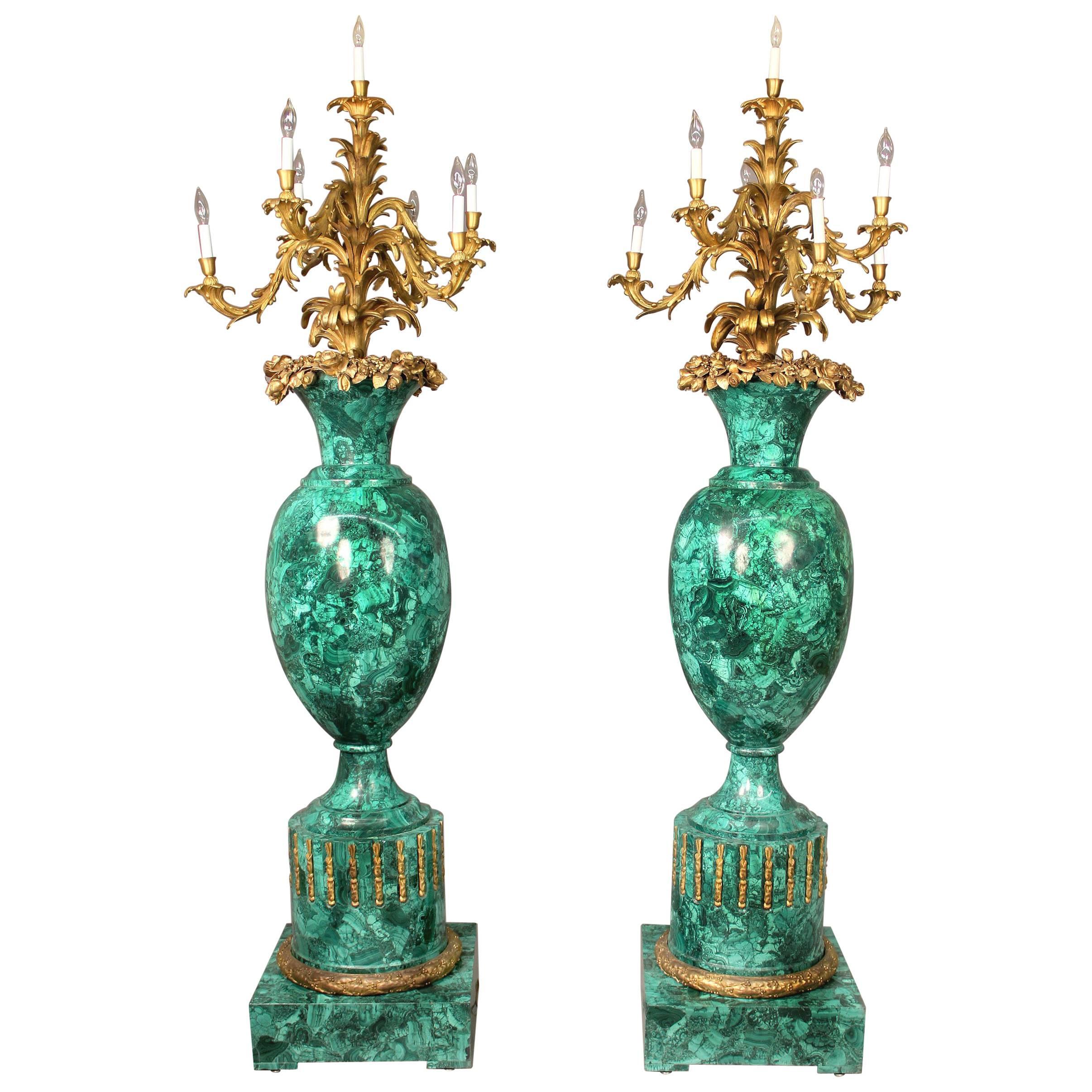 Rare and Palatial Pair of Gilt Bronze and Malachite Seven Light Torcheres