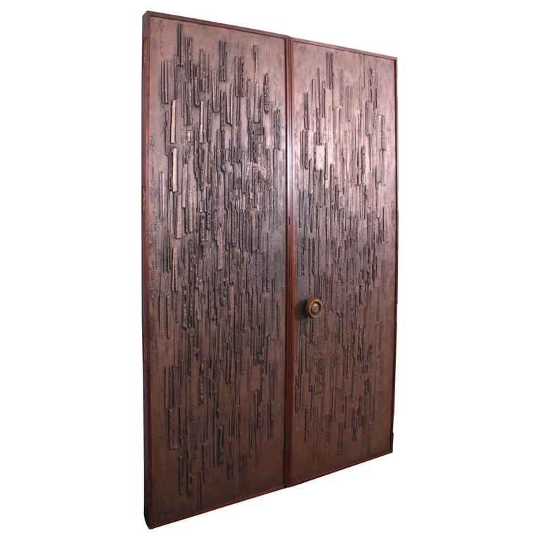Double Sided Architectural Bronze Brutalist Doors by Forms and Surfaces For Sale