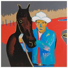 'The Man Whisperer' Portrait Painting by Alan Fears Cowboy Horse