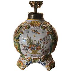 French Glazed Faience Rouen Lamp by Fourmaintraux Freres