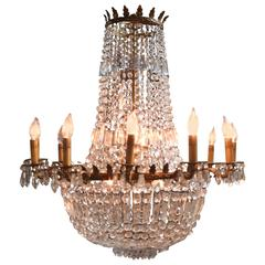 French Early 20th Century Empire Crystal and Bronze Chandelier