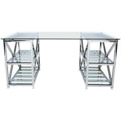 Glass and Chrome Double Pedestal Desk