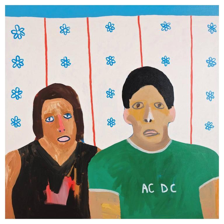 'Debbie's Got New Wallpaper' Portrait Painting by Alan Fears Folk Art For Sale