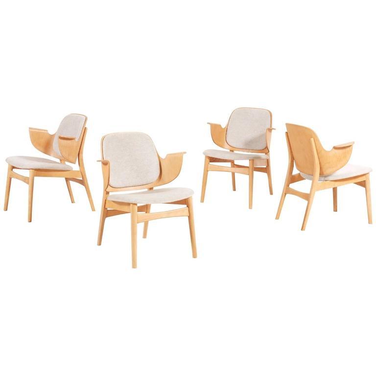 Hans Olsen Set of Four Chairs, Model 107, 1950s
