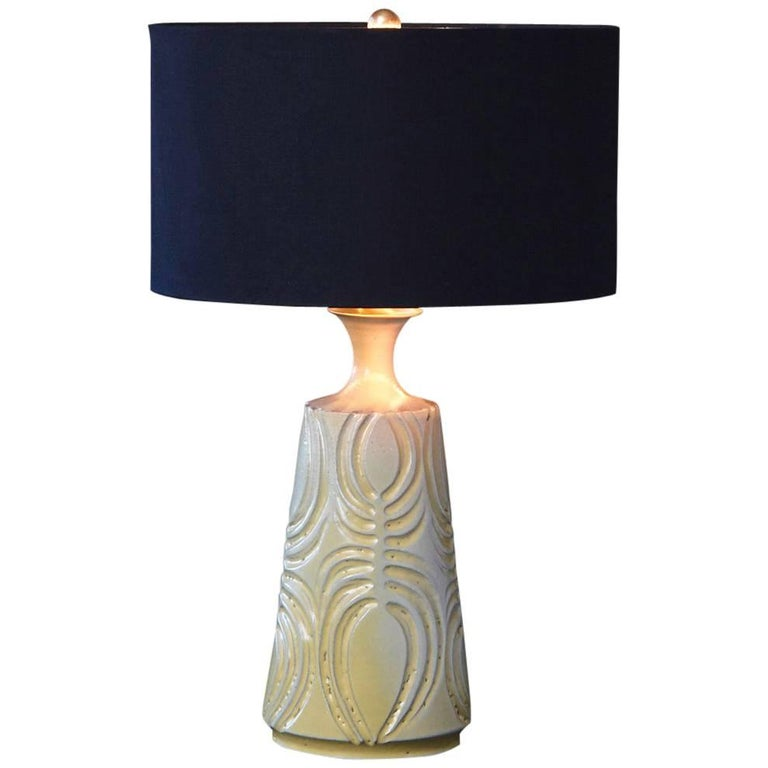 Yellow Ceramic Lamp with Decorative Elements by Robert Maxwell and New Shade For Sale