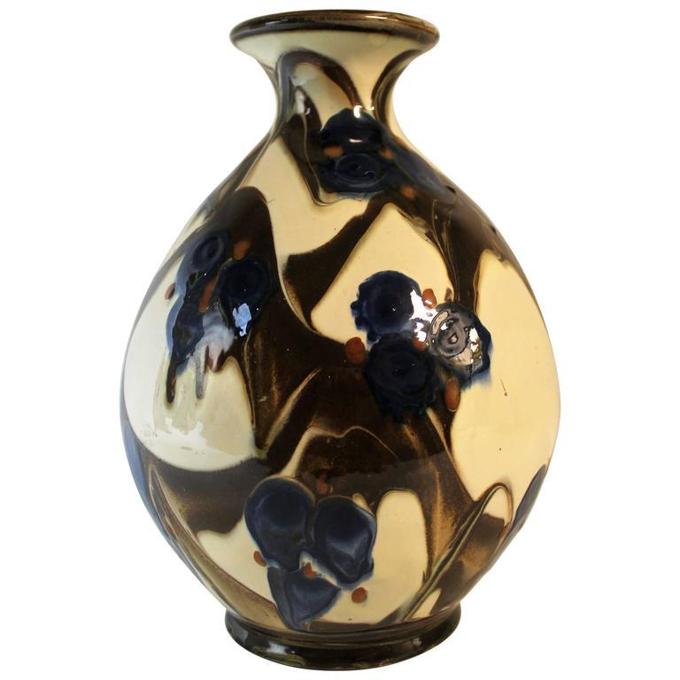 Large Black And Green Ceramic Kahler Floor Vase Denmark 1910 For