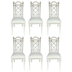 Hollywood Regency Faux Bamboo Dining Chairs, Set of Six