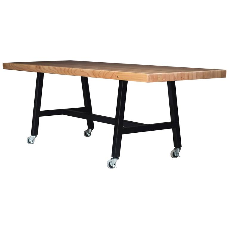 The Mill Table, Modern Doug Fir and Powder Coated Steel Dining Table For Sale