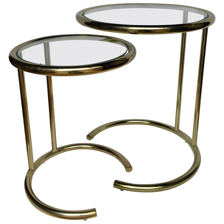 American Mid Century Modern Atomic Age Small Patio Round: Mid-Century Modern Brass Nesting Tables For Sale At 1stdibs
