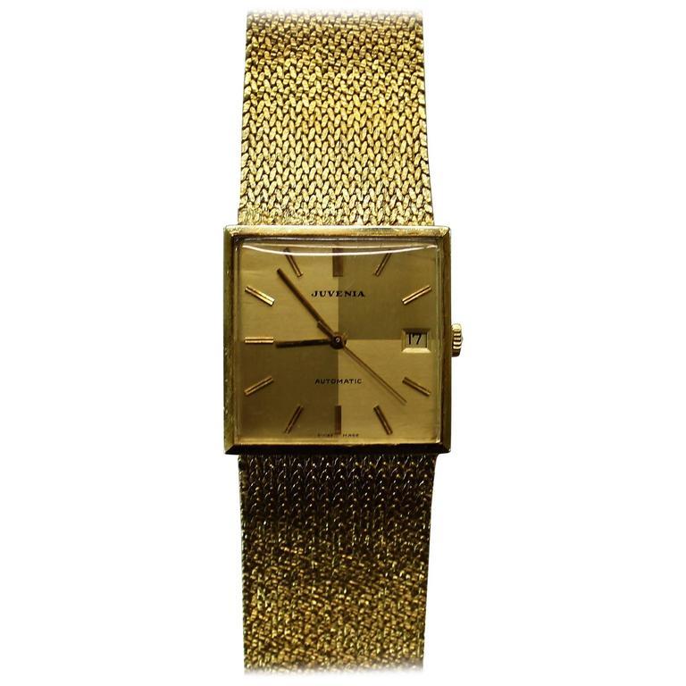 Vintage Juvenia Men's Automatic 18-Karat Gold Wristwatch