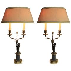 Pair of French Bronze, Marble and Ormolu Lamps with Figural Satyr and Cherub
