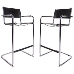 Pair of Mid-Century Style Chrome and Leather Cantilever Bar Stools