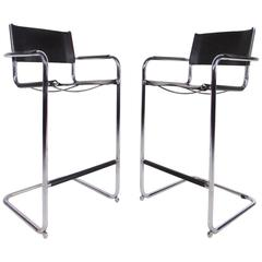 Pair of Mid-Century Chrome and Leather Cantilever Bar Stools