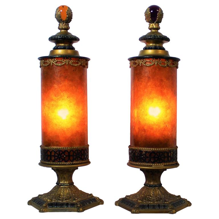 Pair of Arts & Crafts Mica Lamps