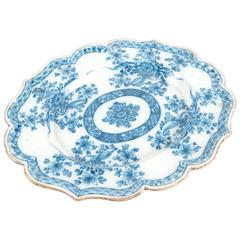 Chinese Lotus-Shape Blue and White Porcelain Plate