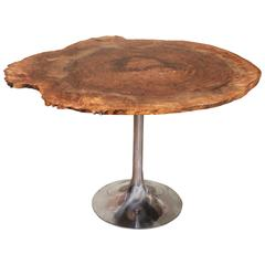 Dining Table Modern Burl Walnut Live Edge Free Form Polished Aluminum Tulip