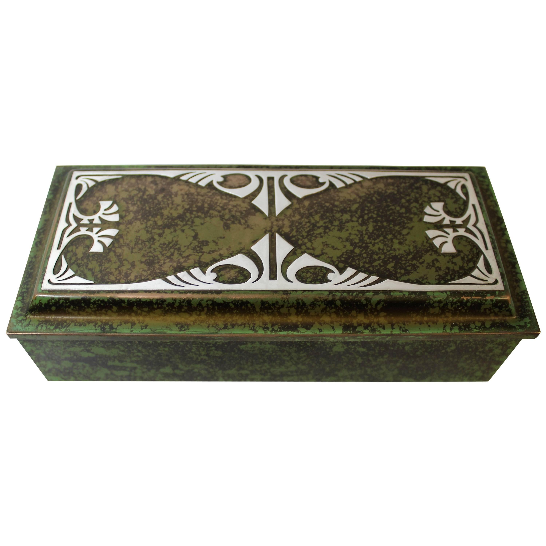 Heintz Art Metal Shop Sterling Silver on Bronze Art Deco Decorative or Cigar Box