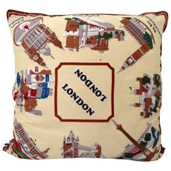 1960'S Custom Large London Travel Souvenir Silk Scarf Down Filled Pillow