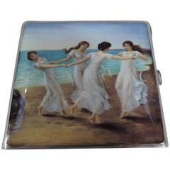 Antique German Silver and Enamel Cigarette Case with Classical Dancing Graces