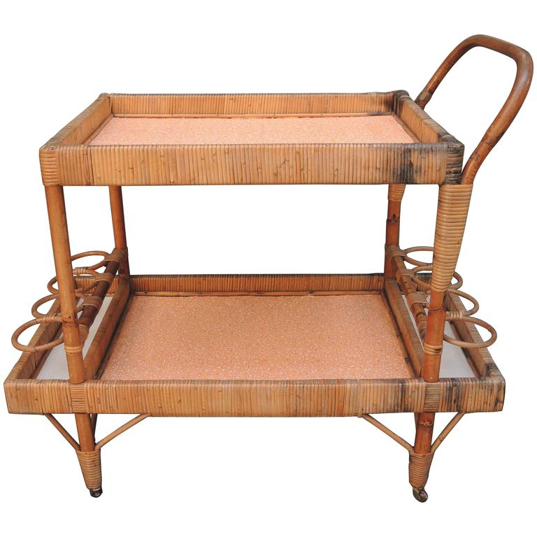 Vintage French Bamboo Bar Cart For Sale At 1stdibs